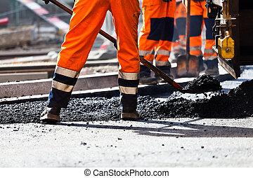 建設, シャベル, 労働者, 道