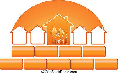 建設, シルエット, 家族