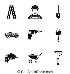 建設, スタイル, セット, 単純なアイコン