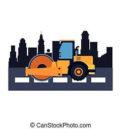 建設, スチームローラー, カラフルである, 車