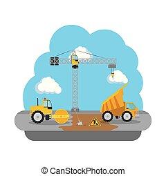 建設, スチームローラー, 車, トラック, ゴミ捨て場