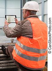 建設, スーパーバイザー, サイト, タブレット, デジタル