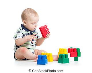建設, セット, 遊び, 子供
