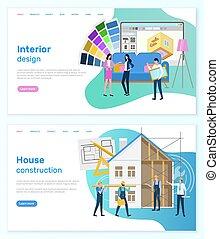 建設, デザイン, ウェブサイト, 家, 内部