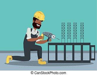 建設, デザイン, 下に