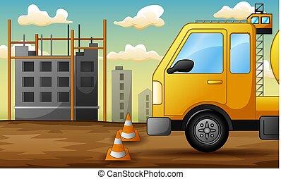 建設, トラック, サイト, 背景