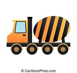 建設, トラック, 隔離された, ミキサー, アイコン