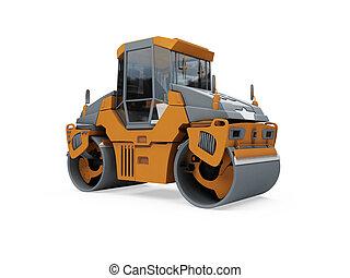 建設, トラック, 隔離された, 光景