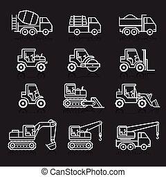 建設, トラック, set., アイコン