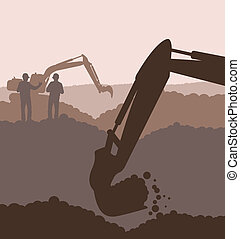 建設, ベクトル, サイト, 掘削機, 積込み機