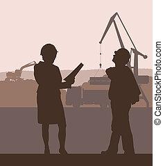 建設, ベクトル, サイト, 背景, エンジニア