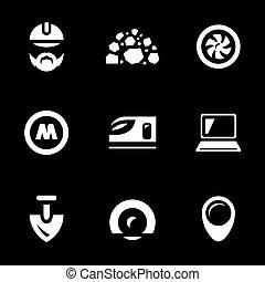 建設, ベクトル, セット, 地下鉄, icons.