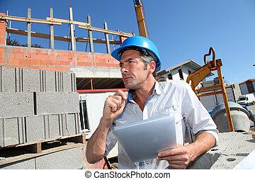 建設, マネージャー, 使うこと, 電子, タブレット, 上に, 建物サイト
