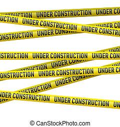 建設 中, テープ, 黄色, 危険