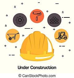 建設 中, ヘルメット, ハードワーク, 道具, アイコン