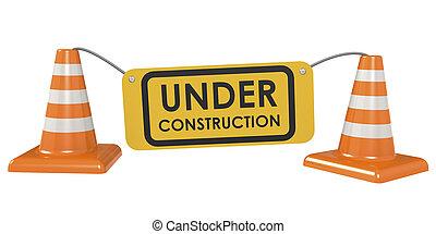 建設 中, 交通, 概念, コーン