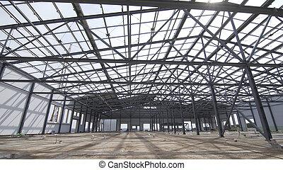 建設, 倉庫, 外面, 産業, ∥あるいは∥, 構造, 鋼鉄, 倉庫, 工場, 現代, 新しい, パノラマである, 建物, against., ビュー。, 構造, サイト, コマーシャル