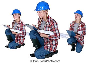 建設, 労働者, クリップボード