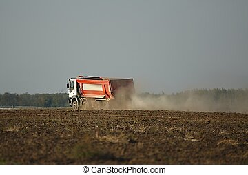 建設, 卡車, 路