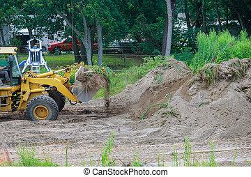建設, 土壌, 仕事, 地面, 美化, 動く, ブルドーザー, 堀る