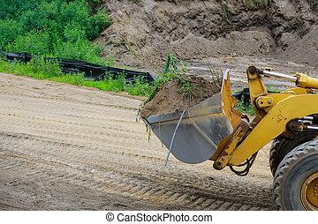 建設, 土壌, earthmoving, 仕事, 地面, 美化, ブルドーザー, 堀る