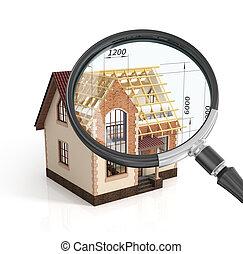 建設, 家, 計画, デザイン, 混ざり合いなさい, 転移, イラスト, 中に, magnifier., 建設,...