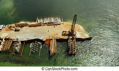 建設, 島, 下に, siargao., 橋