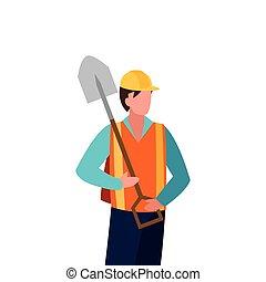 建設, 建築者, シャベル, 労働者