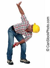 建設, 彼の, 労働者, の上, 腕