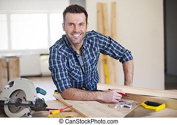 建設, 微笑, 仕事, 労働者