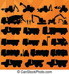 建設, 挖掘機, 卡車, 以及, 具体的混合器, 卡車, 詳細, 工業機械, 矢量
