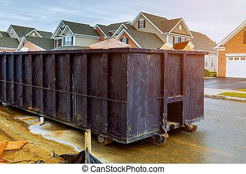 建設, 新しい, ごみ, 無駄, サイト, 背景, 容器, リサイクル, 赤, 容器, 家