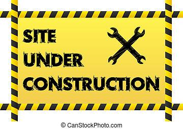 建設, 旗, サイト, 下に