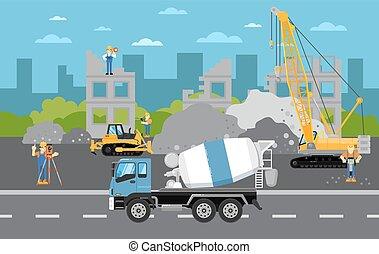 建設, 旗, 機械類, 下に