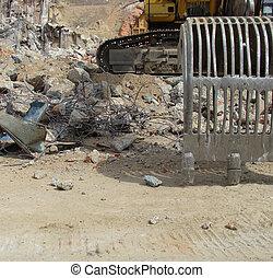 建設, 爆破, 工業 站點, 碎石, 挖掘機