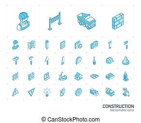 建設, 産業, icons., ベクトル, 線, 3d, 等大