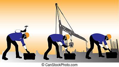 建設, 矢量, 工人