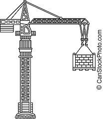 建設, 矢量, 黑色, crane., 白色