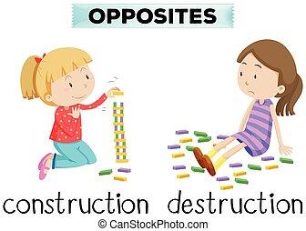 建設, 言葉, 反対, flashcard, 破壊