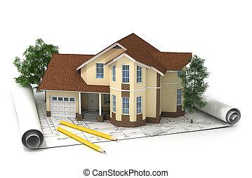 建設, 計画, ∥で∥, 家, そして, 木, 3d