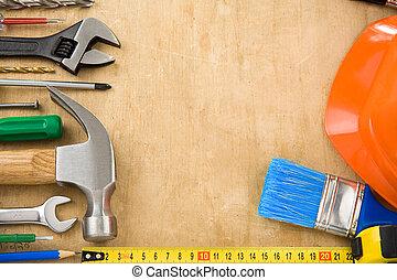 建設, 道具, 上に, 木