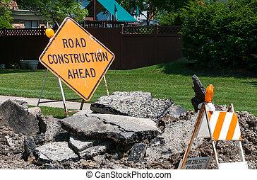 建設, 道, 前方に, 印