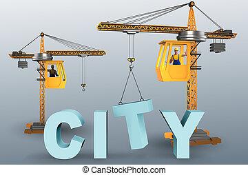 建設, 都市, クレーン, 概念