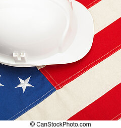 建設, 鋼盔, 在上方, 美國旗, -, 1, 到, 1, 比率