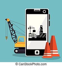 建設, smartphone, 労働者, 下に