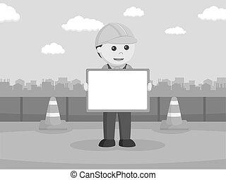 建设工人, 握住, whiteboard