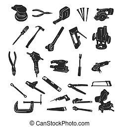 建设工具, 矢量, 侧面影象