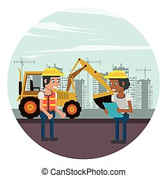建设者, 人工作, 建设, 在下面, 发生地点