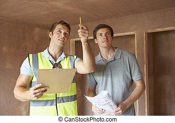 建设者, 同时,, 检查员, 看, 新的财产