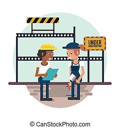 建设者, 夫妇, 工作, 建设, 在下面, 发生地点